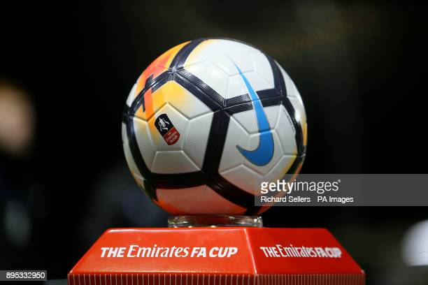 The match ball on display before the Emirates FA Cup second round match at Mill Farm Flyde