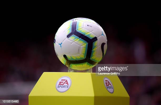 The match ball pictured prior to the Premier League match between Liverpool FC and West Ham United at Anfield on August 12 2018 in Liverpool United...