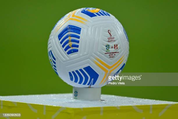 The match ball prior to a match between Brazil and Peru as part of South American Qualifiers for Qatar 2022 at Arena Pernambuco on September 09, 2021...