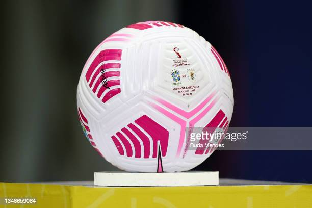 The match ball prior to a match between Brazil and Uruguay as part of South American Qualifiers for Qatar 2022 at Arena Amazonia on October 14, 2021...