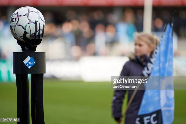 The match ball prior to the Danish Alka Superliga match between Randers FC and Lyngby BK at BioNutria Park Randers on April 01 2018 in Randers Denmark