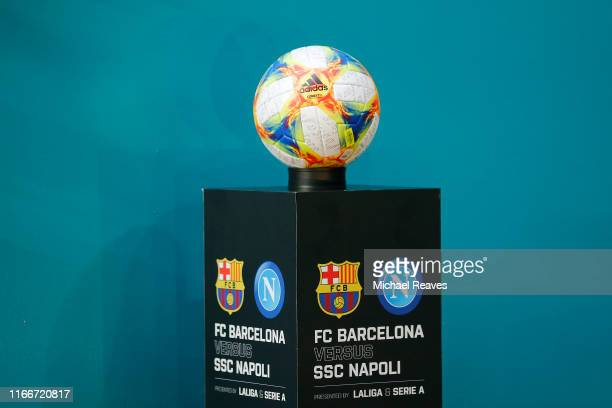 The match ball prior to the game between FC Barcelona and SSC Napoli during a preseason friendly match at Hard Rock Stadium on August 07 2019 in...