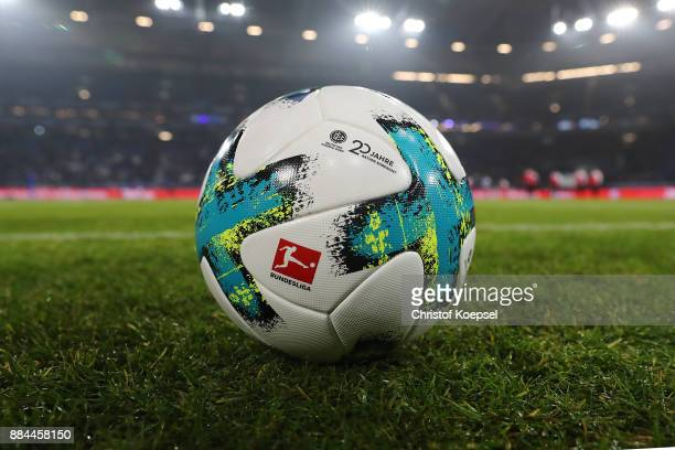 the match ball with a logo in celebration of 20 years of volunteers during the Bundesliga match between FC Schalke 04 and 1 FC Koeln at VeltinsArena...