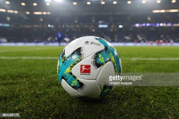 The match ball with a logo in celebration of 20 years of volunteers during the Bundesliga match between FC Schalke 04 and 1. FC Koeln at...