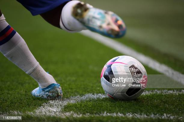 The match ball with branding for the 'No room for racism' campaign is seen during the Premier League match between Chelsea FC and Newcastle United at...