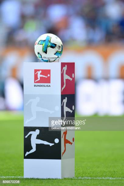 The match ball with the Bundesliga logo during the Bundesliga match between FC Augsburg and Borussia Moenchengladbach at WWKArena on August 26 2017...