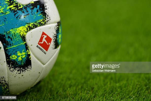 The match ball with the logo of the Bundesliga lies on the pitch prior to the Bundesliga match between FC Bayern Muenchen and FC Augsburg at Allianz...