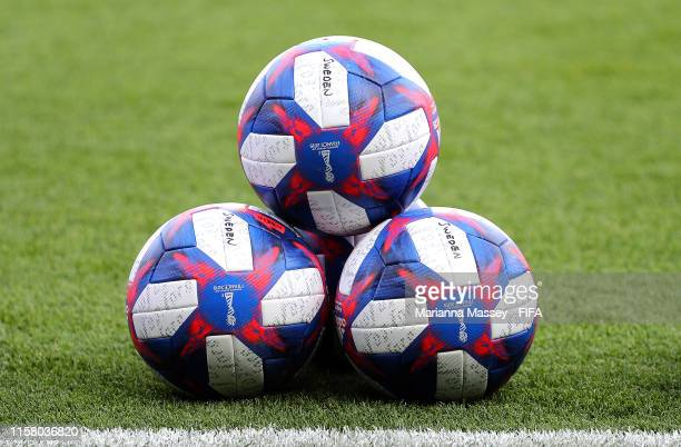 The match balls are seen on the pitch prior to the 2019 FIFA Women's World Cup France Round Of 16 match between Sweden and Canada at Parc des Princes...