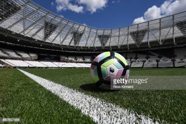 The match day ball is seen on the pitch prior to the Premier League match between West Ham United and Liverpool at London Stadium on May 14 2017 in...