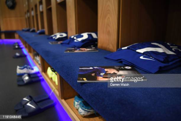 The match day programme is seen inside the Chelsea dressing room prior to the Premier League match between Chelsea FC and West Ham United at Stamford...