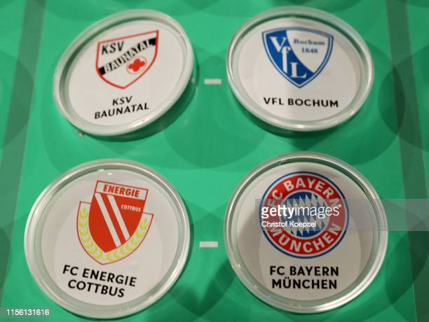 The match FC Energie Cottbus against FC Bayern Muenchen on the match board during the DFB Cup 2019/20 First Round Draw at Deutsches Fussballmuseum on...