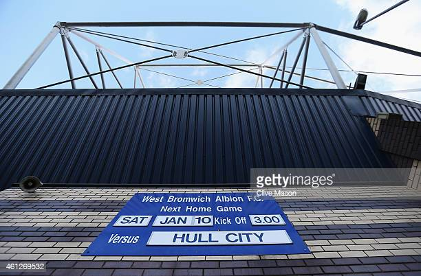 The match fixture is displayed outside the ground prior to the Barclays Premier League match between West Bromwich Albion and Hull City at The...
