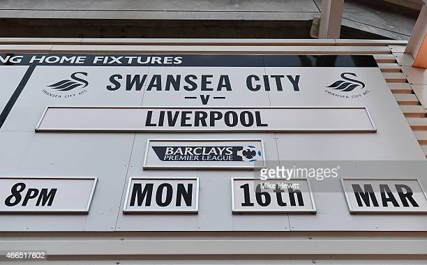 The match fixture is displayed prior to the Barclays Premier League match between Swansea City and Liverpool at Liberty Stadium on March 16 2015 in...