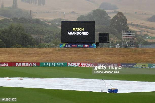 The match is abandoned due to wet weather conditions during the ICC U19 Cricket World Cup match between Afghanistan and Pakistan at Joh Davies Oval...