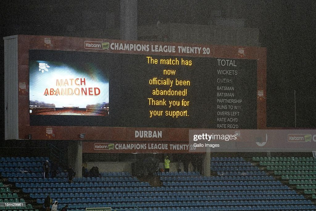 The match is abandoned during the CLT20 match between Auckland Aces and Delhi Daredevils from Sahara Stadium Kingsmead on October 19, 2012 in Durban, South Africa.