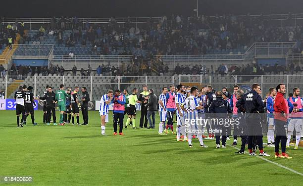 The match is suspended after the earthquake during the Serie A match between Pescara Calcio and Atalanta BC at Adriatico Stadium on October 26 2016...