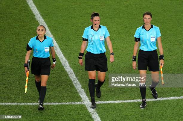 The match officials leave the pitch after the 2019 FIFA Women's World Cup France Round Of 16 match between Sweden and Canada at Parc des Princes on...