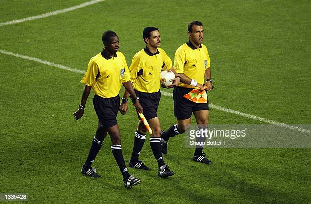 The match officials line-up during the Denmark v Uruguay Group A, World Cup Group Stage match played at the Ulsan-Munsu World Cup Stadium in Ulsan,...