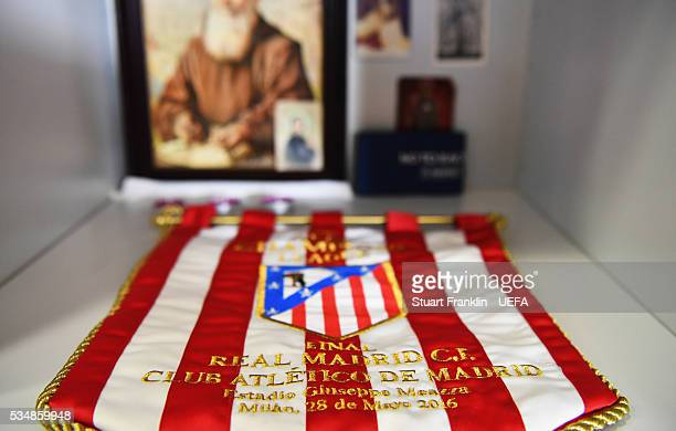The match penant of Athletico Madrid is seen in the dressing room prior the UEFA Champions League Final match between Real Madrid and Club Atletico...