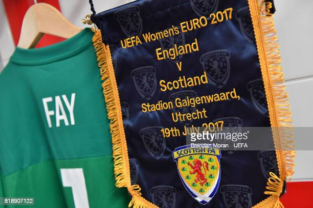 The match pennant and jersey of Scotland captain Gemma Fay in the Scotland dressing room prior to the UEFA Women's EURO 2017 Group D match between...