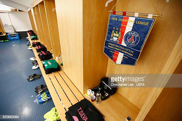 The match pennant hanging in the PSG changing room prior to the UEFA Champions League Quarter Final second leg match between Manchester City FC and...