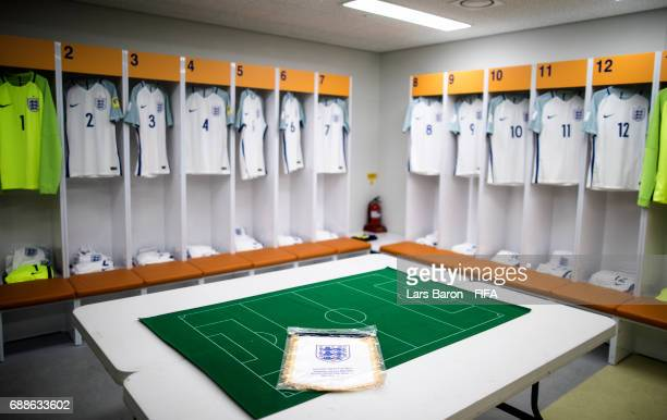 The match pennant is seen in the England dressing room during the FIFA U20 World Cup Korea Republic 2017 group A match between England and Korea...