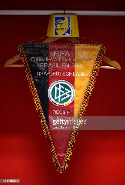 The match pennant of and the captain's armband hang in the dressing room prior to the 2014 FIFA World Cup Brazil Group G match between USA and...