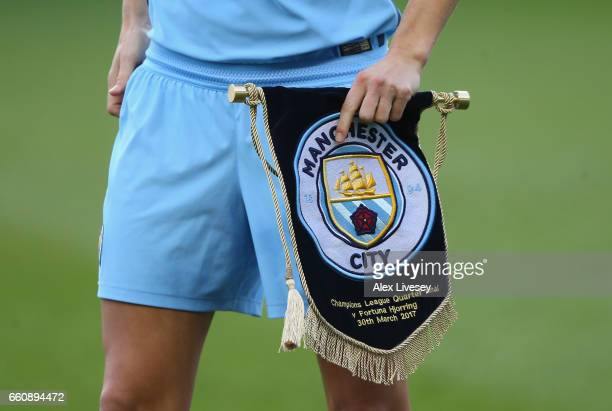 The match pennant of Manchester City is seen prior to the UEFA Women's Champions League match between Manchester City and Fortuna at City Academy on...