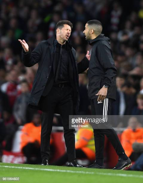 The match referee sends Diego Simeone Manager of Atletico Madrid to the stands during the UEFA Europa League Semi Final leg one match between Arsenal...