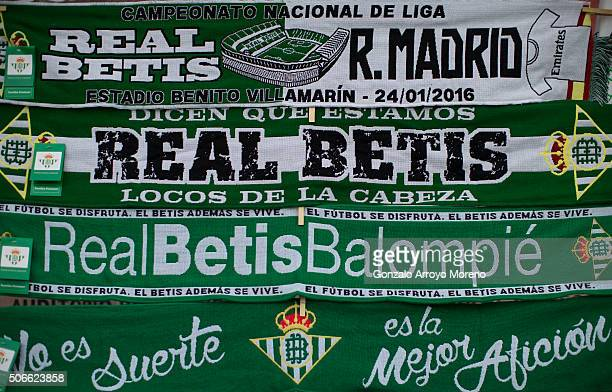 The match' scarf is displayed at a merchandaising stall at Estadio Benito Villamarin outdoors before the La Liga match between Real Betis Balompie...