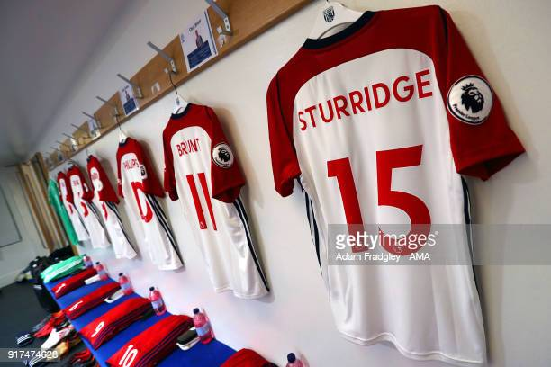 The match shirt of Daniel Sturridge of West Bromwich Albion hangs in the away dressing room ahead of the match prior to the Premier League match...