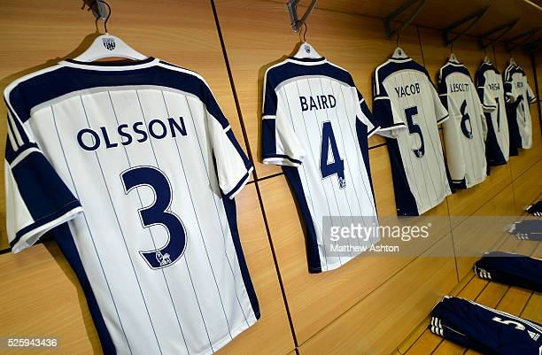 the match shirt of Jonas Olsson of West Bromwich Albion hangs in the away dressing room ahead of todays fixture