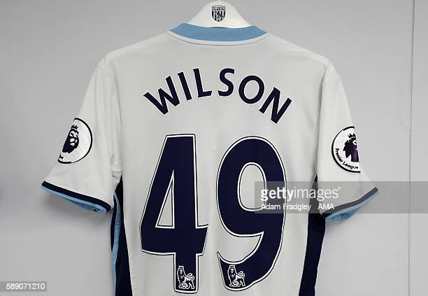 The match shirt of Kane Wilson of West Bromwich Albion hangs in the away dressing room during the Premier League match between Crystal Palace and...