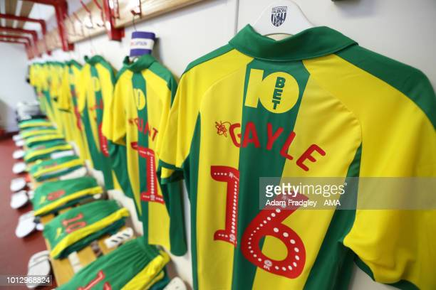 The match shirt of new signing Dwight Gayle of West Bromwich Albion hangs in the away dressing room during the Sky Bet Championship match between...