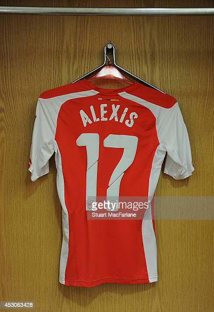 The match shirt worn by Alexis Sanchez of Arsenal hangs in the home changing room before the match between Arsenal and Benfica at Emirates Stadium on...
