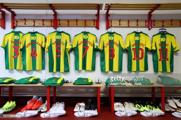 The match shirts of West Bromwich Albion players hang in the away dressing room during the Sky Bet Championship match between Nottingham Forest v...