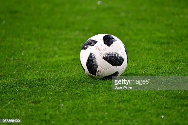 The matchball for the 2018 World Cup during the international friendly match between Morocco and Serbia on March 23 2018 in Turin Italy