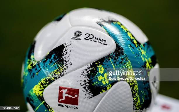 The matchball is pictured reading '20 Jahre Aktion Ehrenamt' during the Bundesliga match between Hertha BSC and Eintracht Frankfurt at Olympiastadion...