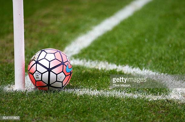 The matchball is placed at a corner kick during the Emirates FA Cup Third Round match between Wycombe Wanderers and Aston Villa at Adams Park on...