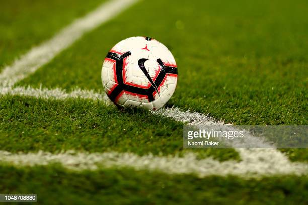 The matchball is seen during the International Friendly match between England Women and Australia at Craven Cottage on October 9, 2018 in London,...