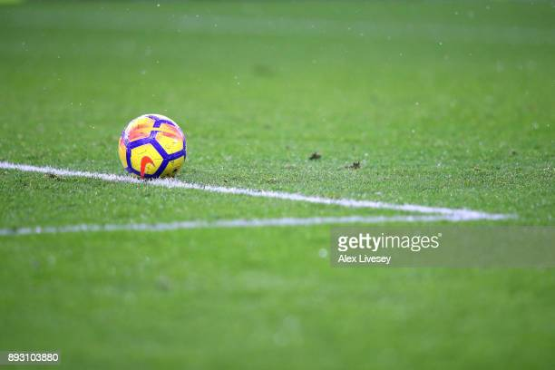 The matchball is seen during the Premier League match between Burnley and Stoke City at Turf Moor on December 12 2017 in Burnley England
