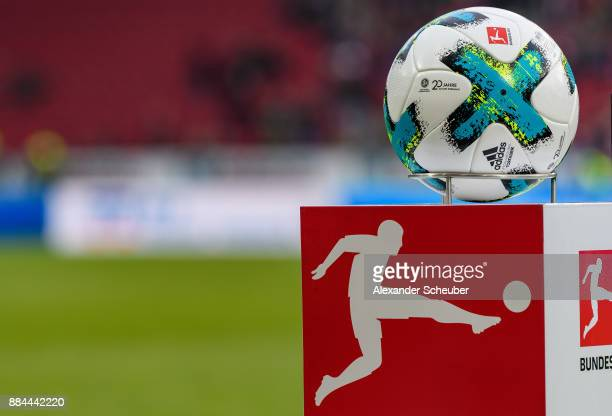 The matchball is seen with the logo '20 Jahre Ehrenamt' during the Bundesliga match between 1 FSV Mainz 05 and FC Augsburg at Opel Arena on December...