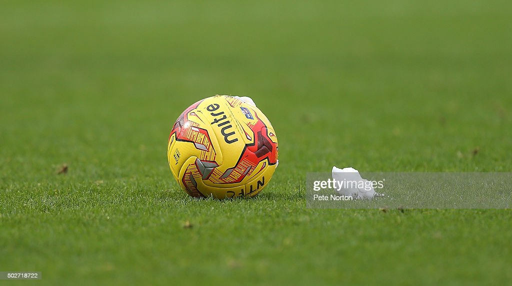 The matchball is seen with vanishing spray during the Sky Bet League Two match between Northampton Town and Accrington Stanley at Sixfields Stadium on December 28, 2015 in Northampton, England.