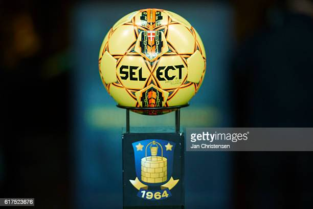 The matchball prior to the Danish Alka Superliga match between Brondby IF and AGF Arhus at Brondby Stadion on October 23 2016 in Brondby Denmark