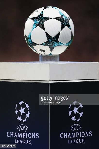 The matchball sits on a plinth ahead of kick off during the UEFA Champions League match between Manchester City v Feyenoord at the Etihad Stadium on...