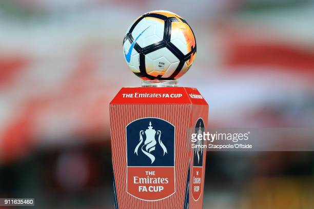 The matchball sits on a plinth before The Emirates FA Cup Fourth Round match between Liverpool and West Bromwich Albion at Anfield on January 27 2018...