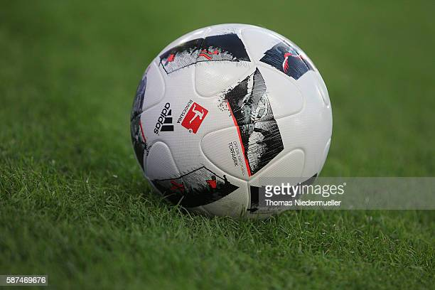 The matchball 'Torfabrik' is seen during the Second Bundesliga match between VfB Stuttgart and FC St Pauli at MercedesBenz Arena on August 8 2016 in...