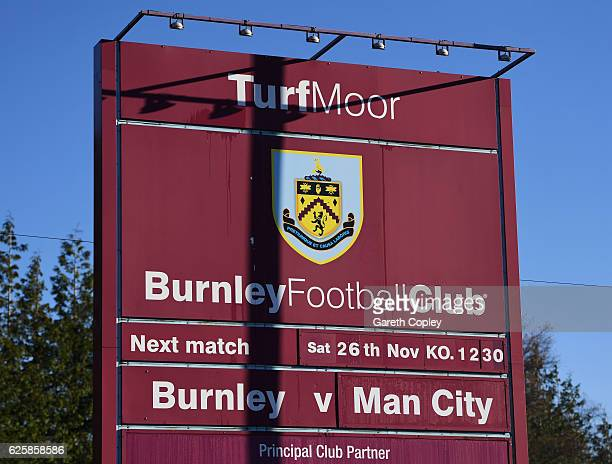 The matchday fixture is displayed at the stadium prior to the Premier League match between Burnley and Manchester City at Turf Moor on November 26...