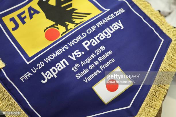 The Matchday pennant in the Japan dressing room prior to the FIFA U20 Women's World Cup France 2018 group C match between Japan and Paraguay at Stade...