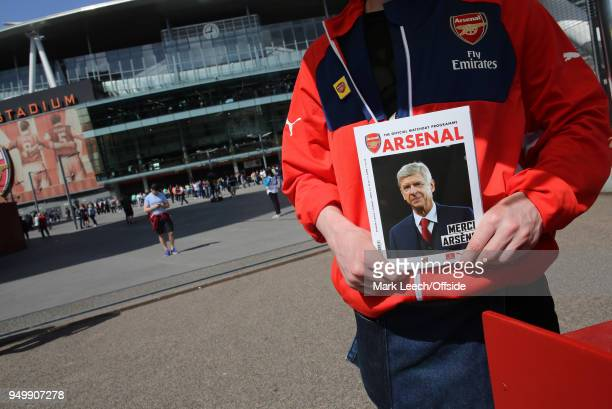 The matchday programme has a farewell message for Arsenal manager Arsene Wenger before the Premier League match between Arsenal and West Ham United...